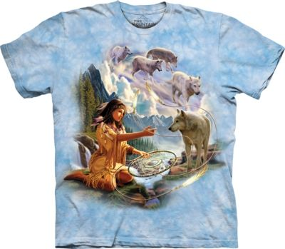 Dreams of the Wolf Spirit - Adult Native American T-shirt