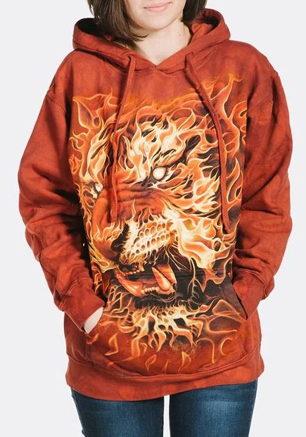 Adult Fire Tiger Hoodie | Tiger Hooded Sweatshirt | The Mountain® UK
