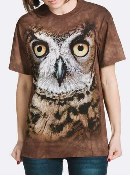 Great Horned Owl Head - Adult Big Face™ Bird T-shirt - The Mountain®