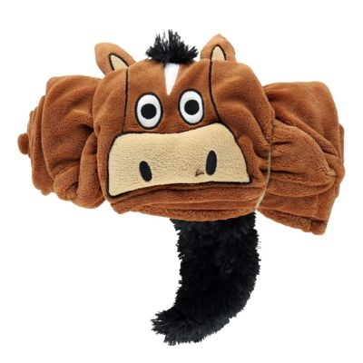 Hooded Critter Fleece Blanket Brown Horse - Lazy One®