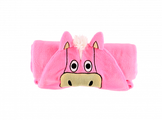 Hooded Critter Fleece Pink Horse Blanket - Lazy One®