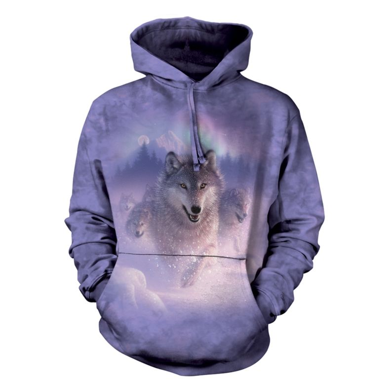 Northern Lights Wolves Hoodie | Wolf Hooded Sweatshirt | The Mountain® UK
