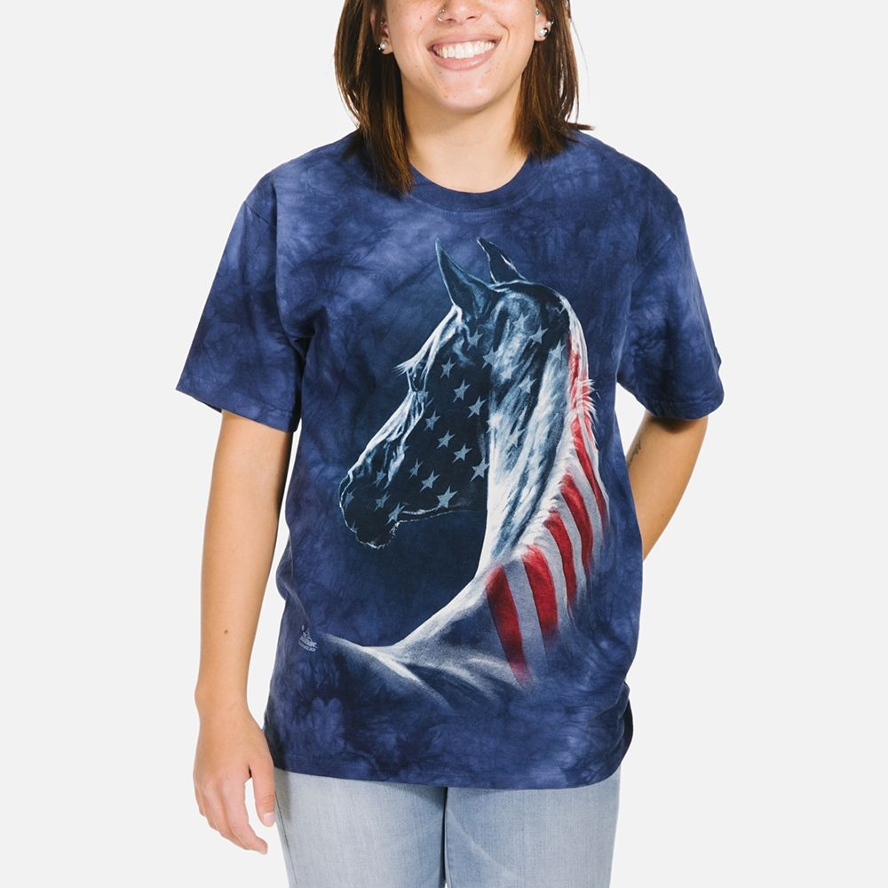 Patriotic Horse Head - Adult Horse T-shirt - The Mountain®