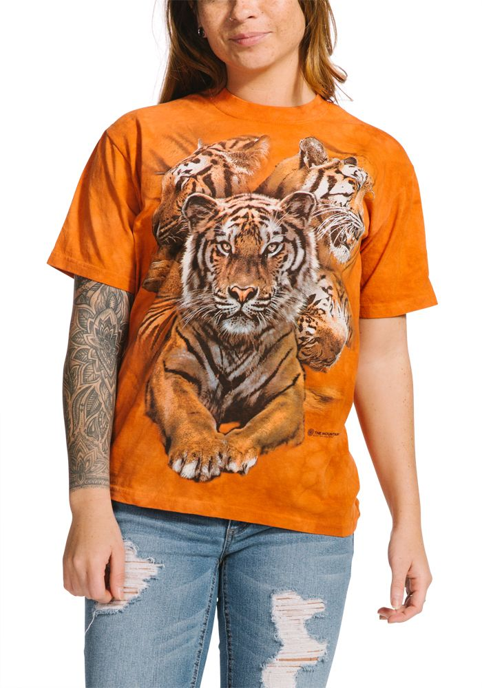 Resting Tiger Collage - Adult Tiger T-shirt - The Mountain® | Tam's Treasures