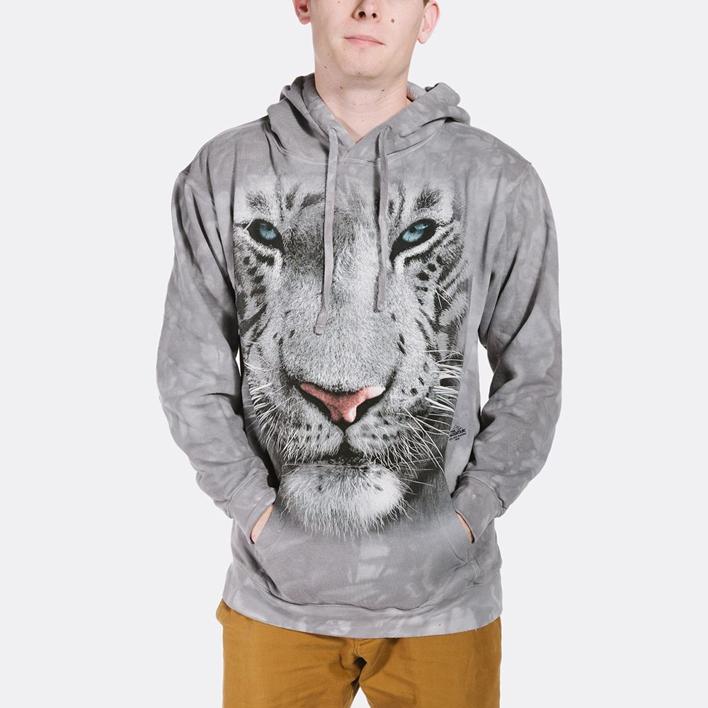 White Tiger Face - Adult Hoodie Sweatshirt - The Mountain®