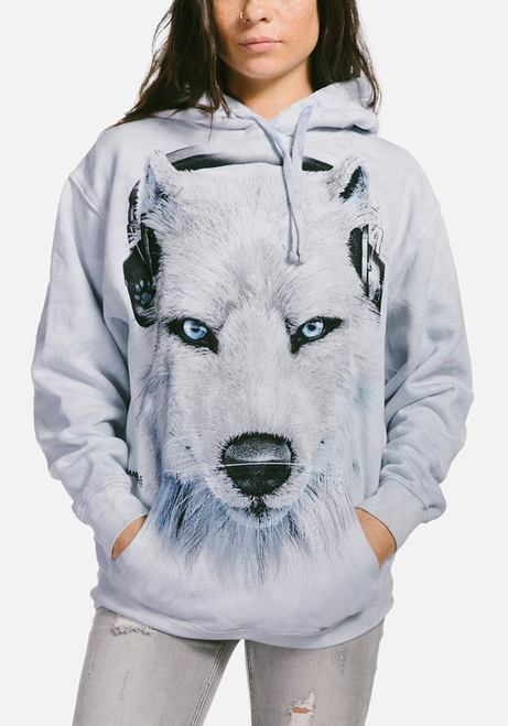 Adult White Wolf DJ Hoodie Sweatshirt | The Mountain® UK | Hooded Sweatshirts
